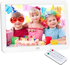 Digital Picture Frame 8 Inch Digital Photo Frame HD 1920X1080P with Remote Control 16:9 IPS Display Auto Slideshow Zoom Image Stereo Video Music Player Support USB SD Card 180° View Angle White