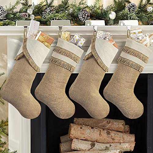 Ivenf Fringed Christmas Stockings, 4 Pack 18 inches Large Original Burlap Stockings with Tassel, for Family Holiday Home Decor Xmas Party Decorations