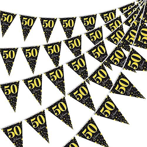 5 Packungen 50. Geburtstag Party Dekorationen Wimpel Banner, Schwarz Golden 50 Jahre Banner Dreieck Flagge Party Zubehör für 50. Geburtstag Hochzeit Party Dekoration Zubehör, 7,4 x 10,8 Zoll