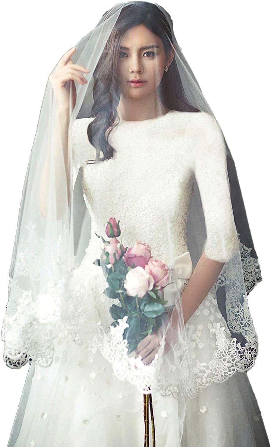 Fenghuavip bluesher Wedding Veils Fingertip Length Lace Edge Veils for Brides with Comb