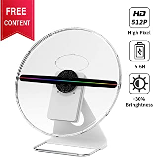 GIWOX Tabletop 3D Hologram Fan Display Projector with Rechargeable Battery, Transparent Silent Protect Cover and Handle Level Design - Mini Size and Protable Holographic Fan Display (12Inch)