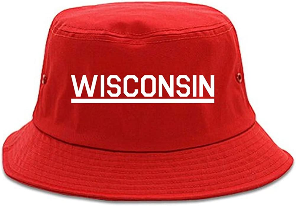 Kings Of NY Wisconsin USA State Bucket Hat Red : Clothing, Shoes & Jewelry