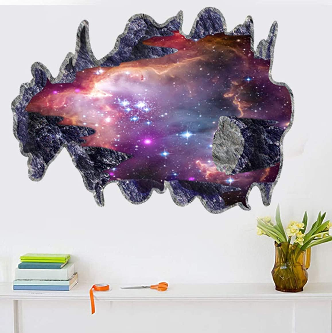 Msszff 3D Space Galaxy Meteorites Wall Stickers for Sitting Room Planet Boys Bedroom Art Vinyl 3D Wall Stickers Decal