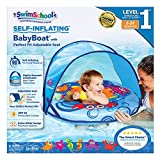 SwimSchool Self-Inflating High-Tech Safety Foam, Fabric Baby Boat Pool Float, Splash & Play Activity Center, Retractable/Removable Canopy, UPF 50, Adjustable Safety Seat, 6 to 24 Months, Blue