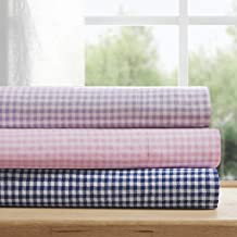 MI ZONE Gingham Bed Sheets, Navy
