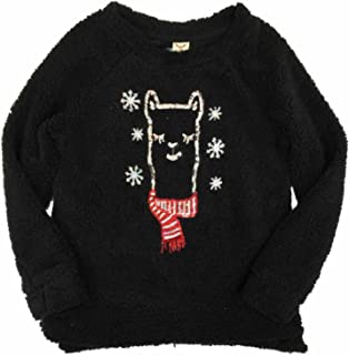 Womens Fuzzy Black Llama & Snowflake Christmas Holiday Sweater Sequin Top
