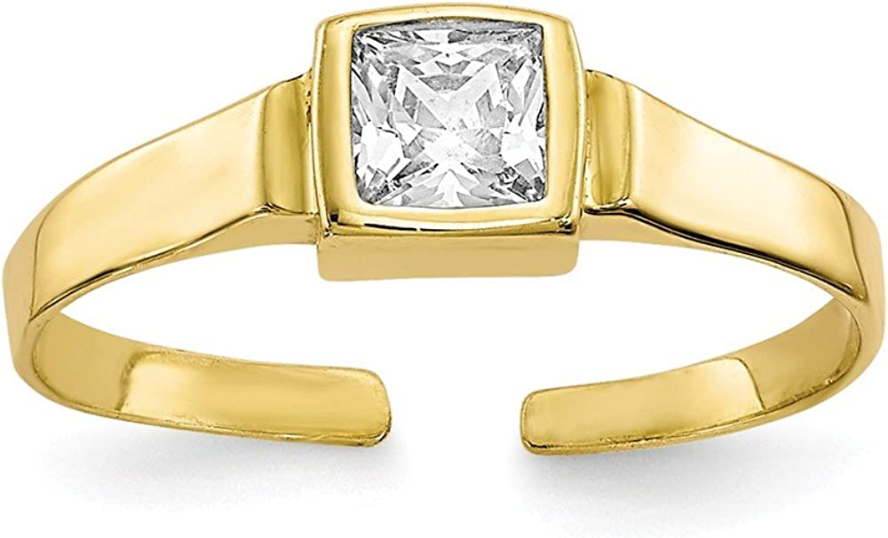 Black Bow Jewelry Square Cubic Zirconia Solitaire Toe Ring in 10 Karat Yellow Gold