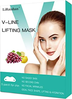 V Line Face Mask Neck Mask Chin Up Patch Face Lift Double Chin Reducer V-Line Face Lifting Brand Contour Tightening Firming Moisturizing V Shape Chin Mask Neck Lift 5pcs