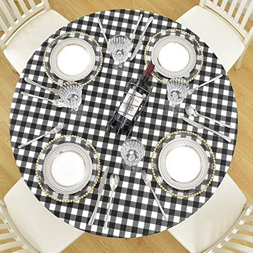 DecorMaster Round Fitted Vinyl Tablecloth with Flannel Backing Elastic Edge Waterproof Plastic Table Cover for Outdoor Patio Kitchen and Dining Room Black White Cross 40in-44in Small