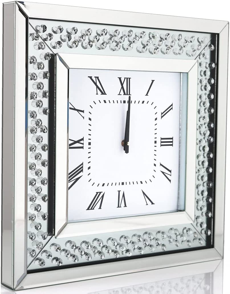 Silver Square Mirror Clock Crystal Sparkle Twinkle Bling Floating Diamond Mirrored Large Wall Clock 20x20x2inches for Wall Decoration Silver Glass Mirror Home Décor. AA Battery is not Included.