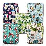 Alva baby cada paquete tiene 6pcs pa/ñal y 2 inserciones ajustado pa/ñal de tela 6DM09-ES color para ni/ñas 4