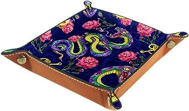 Shallow Leather Box Storage Bins Colorful Snake Cube Organizer Baskets Desktop Organizer
