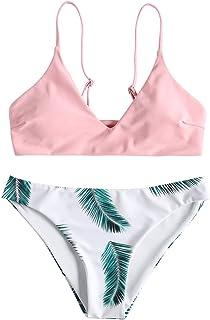 Zaful - Bikini acolchado push-up para mujer con diseño de