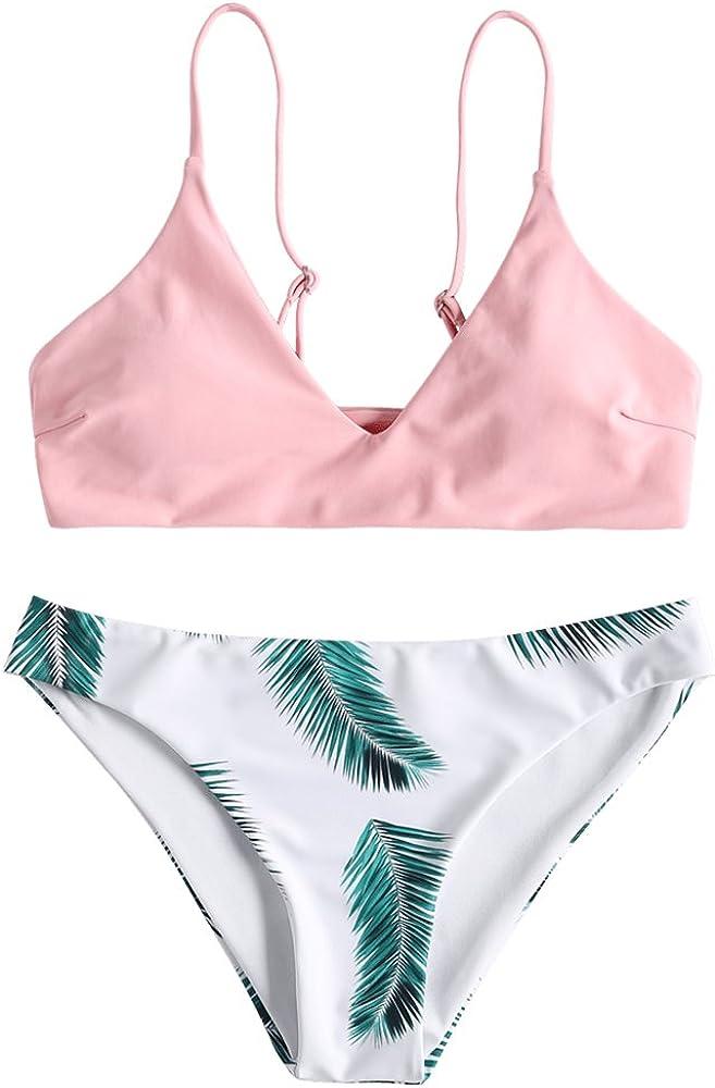 Zaful costume da bagno due pezzi per donna in nylon poliestere spandex materiale elasticizzato rosa