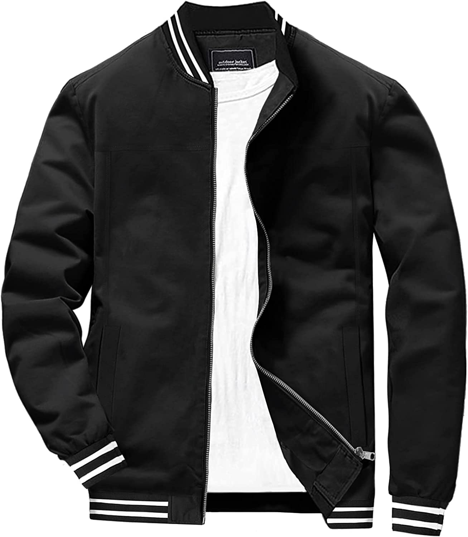 EKLENTSON Mens Jacket Lightweight Bomber Windbreaker Casual Thin Full Zip Jacket