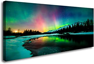 S01950 Wall Art Aurora scenery Painting on Canvas Stretched and Framed Canvas Paintings..