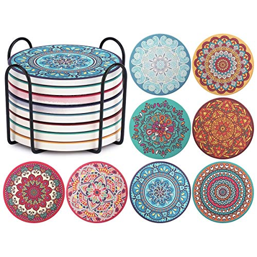 ChefBee Set of 8 Coaster for Drinks - Absorbent Mandala Ceramic Coasters with Cork Base, Metal Holder, Stone Coasters, Perfect Gift Set for Birthday, Housewarming