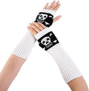 Women Winter Wrist Skull Arm Warmer Knitted Keyboard Long Fingerless Mitten Gloves