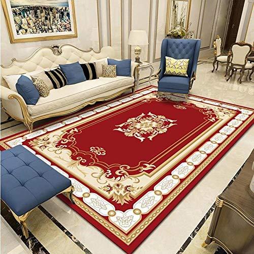 CLYDX Alfombras Salon Habitación Alfombra Pasillo Lavables Rug Dormitorio Sala de Estar Alfombra Antideslizante Alfombra para el Juego de los niños Decora el 60x90 cm (Flor roja)