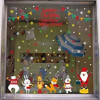 LONGTEN Merry Christmas Sticker Santa Claus Window Clings Decoration Christmas Tree Shop Mall Window Glass Wall Sticker Reindeer Christmas Snowman Snowflake Window Static Sticker Self-Adhesive (O)