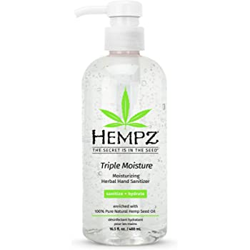 Hempz Triple Moisture Herbal Moisturizing Hand Sanitizer, 16.5oz. Pump - Antibacterial Gel for Hands - Kills 99% of Germs, Grapefruit Fragranced Antiseptic with Skin Hydration …