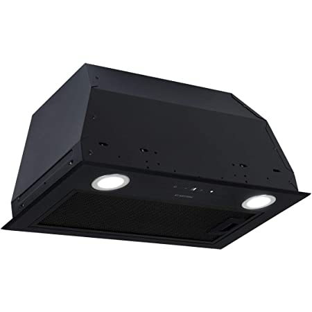 KLARSTEIN Paolo - Hotte aspirante, modules de ventilation, 600 m³/h, 200W, filtre à graisse en aluminium, LED Touch, inox, recirculation possible, largeur 52,5 cm - noir