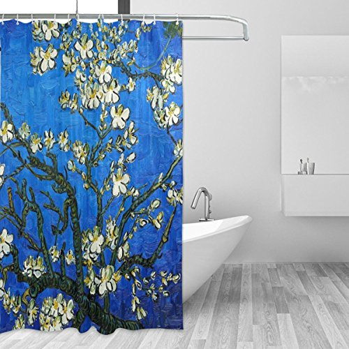 JSTEL Duschvorhang, Van Gogh, Mandelblüten, schimmelresistent & wasserdicht, aus Polyesterstoff, 182,9x 182,9cm, für Ihr Zuhause, extra-langer, dekorativer Dusch-/Badewannenvorhang mit 12Haken