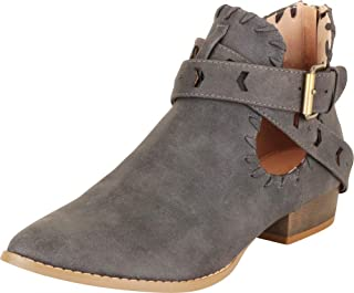 Cambridge Select Women's Western Pointed Toe Side Cutout Whipstitch Crisscross Strappy Chunky Block Low Heel Ankle Bootie