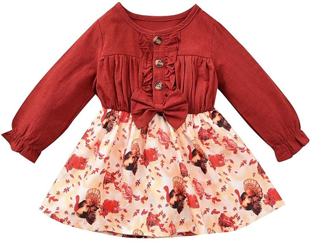 Xiaodriceee Toddler Baby Girl Omaha Max 68% OFF Mall Thanksgiving Ruffle Sl Long Outfit