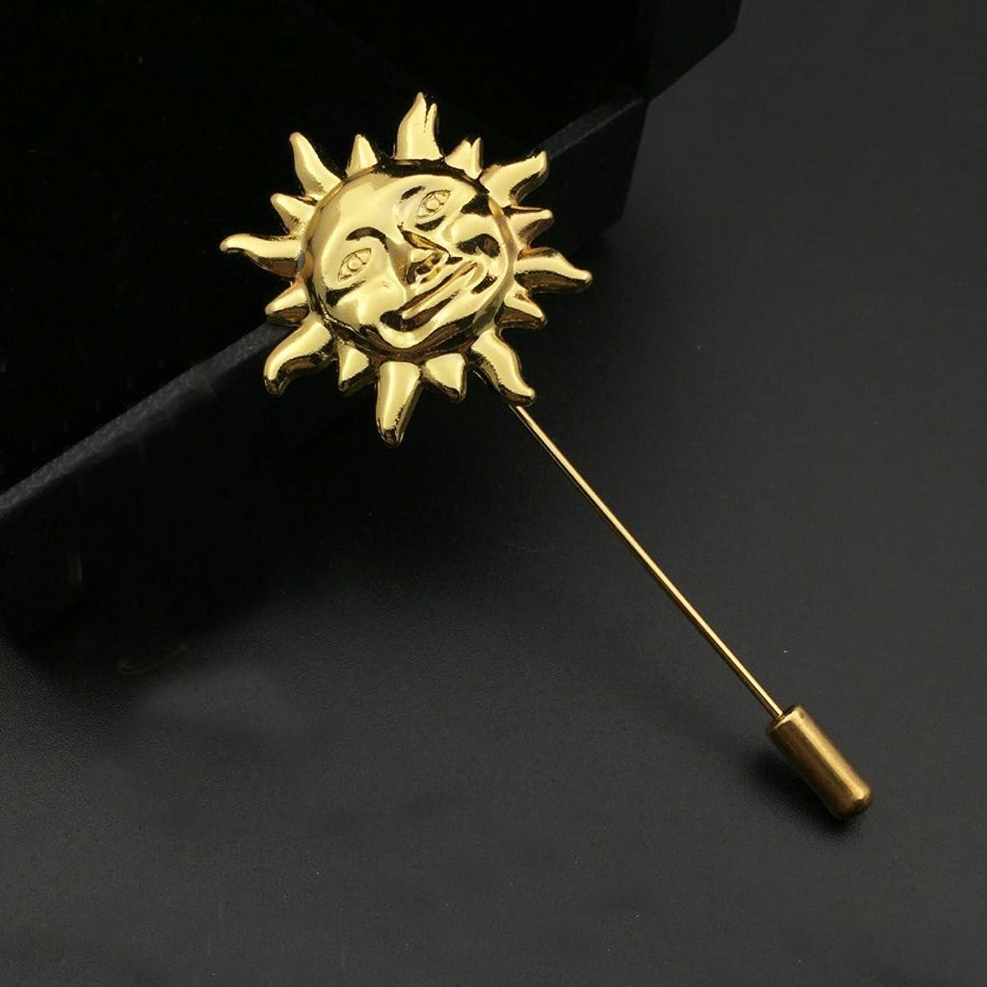 大脳誠実さナビゲーションToygogo メンズ 襟ピン ラペルピン ブローチ 太陽の形 ビジネス スーツ セーター 紳士小物 ゴールド 2点セット