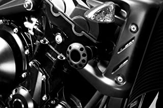 Street Triple 2008/12 - Kit Frame Sliders (R-0637B) - Aluminium Engine Guard Protectors Crash Pads - Hardware Fasteners Included - De Pretto Moto Accessories (DPM Race) - 100% Made in Italy