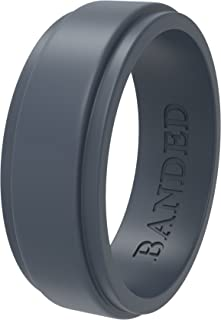 BANDED GLORY Silicone Wedding Ring for Men, Rubber Wedding Bands, Step Edge Design