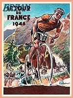 ERZANアメリカン 雑貨 アンティーク インテリア プレート ブリキ メタル 看板30x40cm1948年ツールドフランス自転車レースパリフランスヴィンテージトラベルブリキ看板