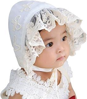 LACOFIA Baby M/ütze Neugeborene M/ädchen Prinzessin Hut Baumwolle Kleinkind Spitze Blumen Sommer Beanie Cap mit verstellbarem Kinnriemen