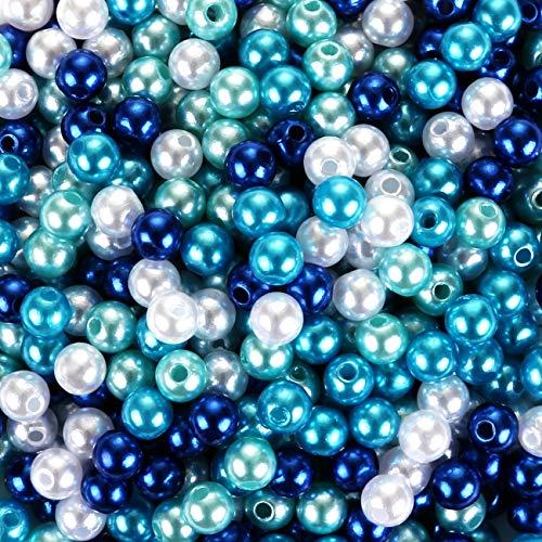 Naler 500 Stück Glasperlen Blau Runde Mehrfabige Perlen zum Auffädeln Kunstperle für Schmuck Balsten, Ø 6 mm