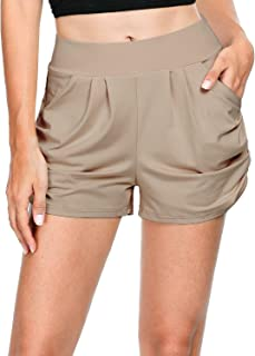 SEVEGO Women's Soft Harem Shorts with Pockets High Waist Tummy Control Lounge Yoga Casual Shorts