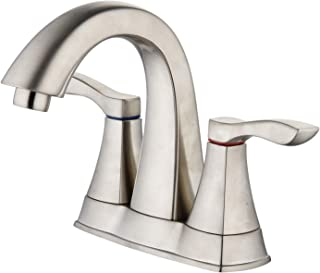 """Aquenture PF6016-BN-WP 4"""" Centerset Bathroom Faucet with Easy Install QuickNut and ClogFREE PopUp Drain Moonstone, Brushed Nickel"""