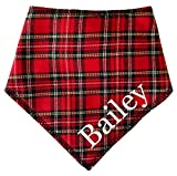 Spoilt Rotten Pets Red Tartan Royal Stewart Personalised With Any Name Customised Dog Bandana (Size 3 Medium Dogs Labrador & Staffies)