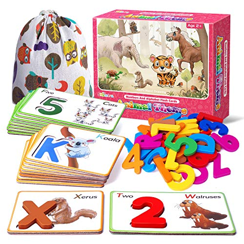 Shemira Animal Alphabets and Numbers Flash Cards Set-ABC Letter Puzzle Matching Games, Learning & Educational Toy, Preschool Homeschool Activities Toys, Montessori Gift for Boys Girls Age 2 3 4