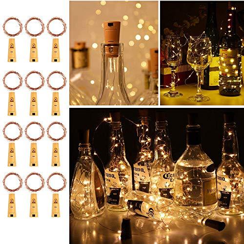 Flaschenlicht lichterkette,RcStarry(TM) Weinflaschen LED lichterkett, 12er stück 1M 10 Leds kupferdraht Licht Sternenlicht für Flasche DIY, Weihnachten Hochzeit und Party Halloween (warmweiß)