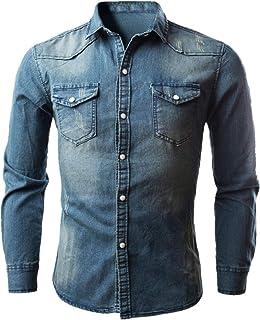 XWLY Men Denim Shirt Long-Sleeve Regular Fit Casual Shirt Washed Denim Comfortable Kent Collar Shirt Classic Spring and Au...