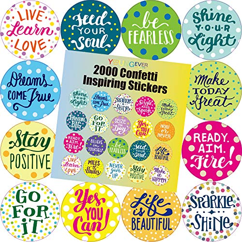 Youngever 2000 Motivational Confetti Inspiring Stickers, Words to Inspire Planner Stickers, Motivational Encouragement Stickers, Positive Stickers for Book, Notebook, Planner