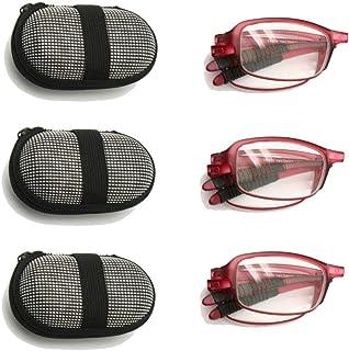 comprar comparacion EnzoDate Gafas de lectura plegables flexibles con estuche, 1 a +3.5 Gafas plegables de presbicia y mujer Hipermetropía, Le...