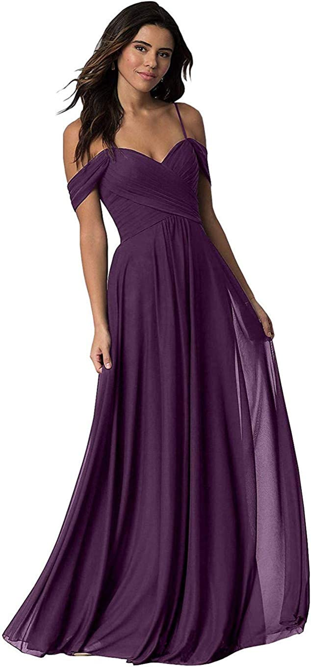 Off The Shoulder Bridesmaid Dresses For Women Sweetheart Chiffon A-Line Formal Prom Gowns