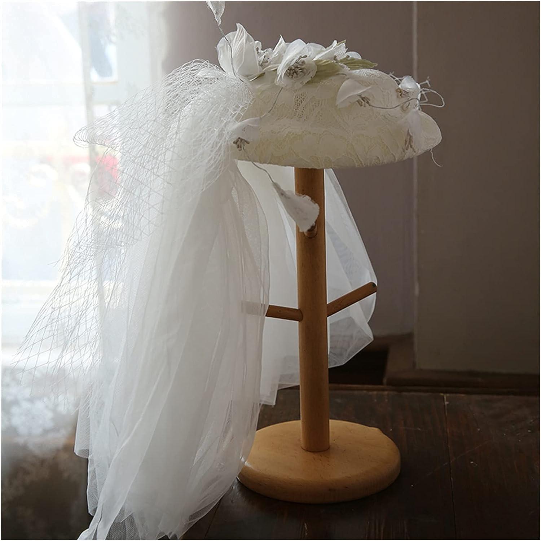 chenfeng Bridal Veil hat European White Mini Wedding Hat with Long Mesh Gauze Flower Fascinator Hat Headpiece Ladies (Color : White, Size : 17cm)