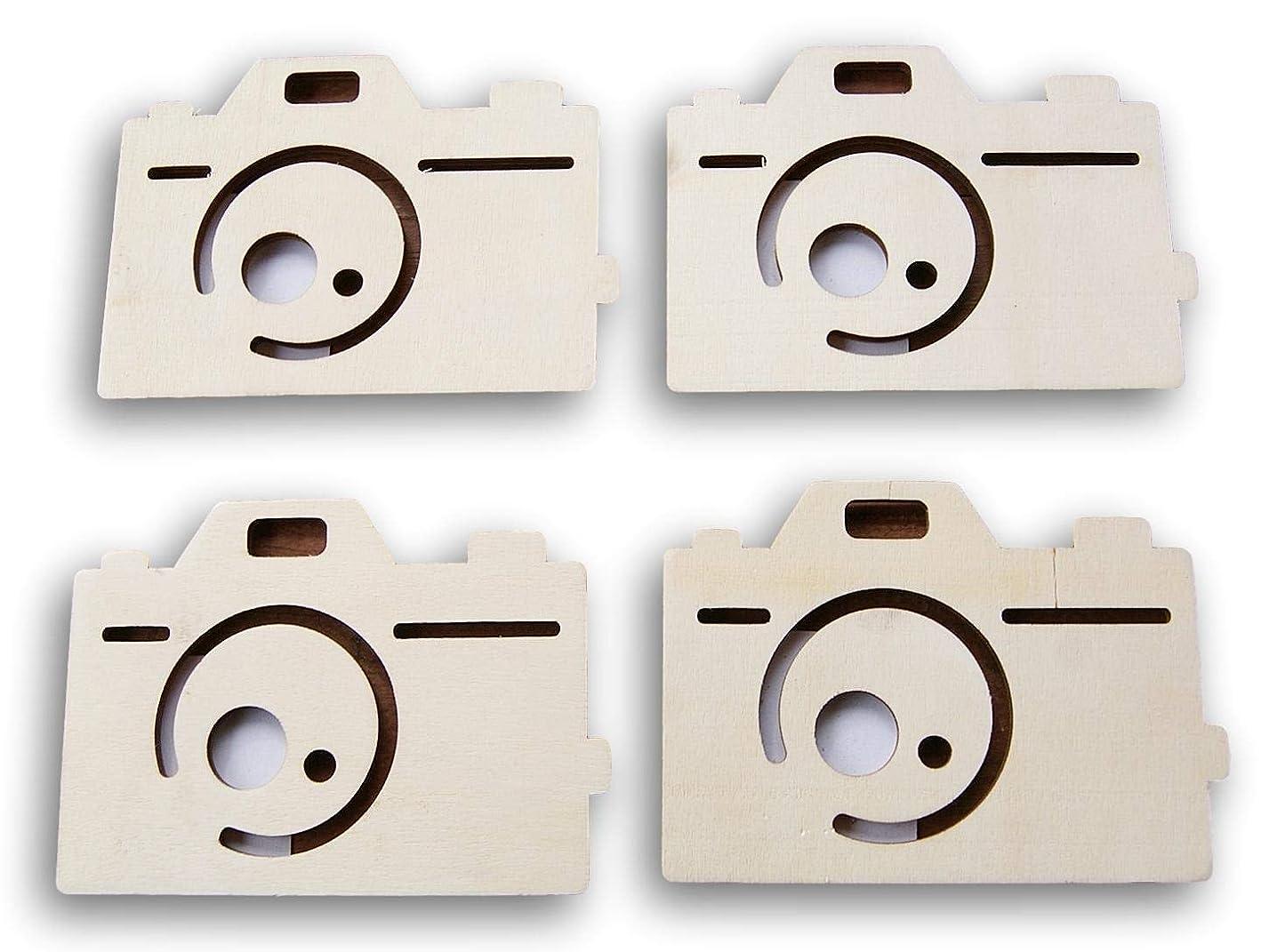 Natural Unpainted Wood Cutout - Camera Shape - Set of 4