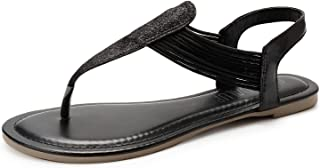 Women's Elastic Strappy Flat Sandals w Sparkling Thong Sandals for Women