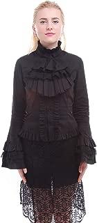 Women Stand-Up Collar Lotus Ruffle Shirt Retro Victorian Lolita Blouse