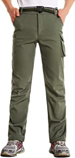 JOMLUN Boy's Outdoor Ski Pants Softshell Fleece Waterproof Hiking Trousers