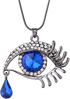 Fashion personality magic eye crystal teardrop eyelash necklace long sweater chain accessories and ring 2-piece set Gift b...